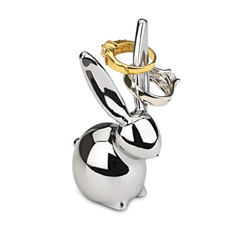 Umbra Zoola Hasen Ringhalter – Moderne Ringablage, Ideales Gastgeschenk, Metall / Silber
