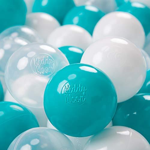 KiddyMoon 50 ∅ 7Cm Balles Colorées Plastique pour Piscine Enfant Bébé Fabriqué en EU, Turquoise/Transparent/Blanc
