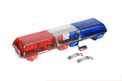 () Infinity 3 LED Emergency Warning Light Bar - Red Lens Left Side, Blue Lens Right Side, Roof Mount - Wolo 7715-BR