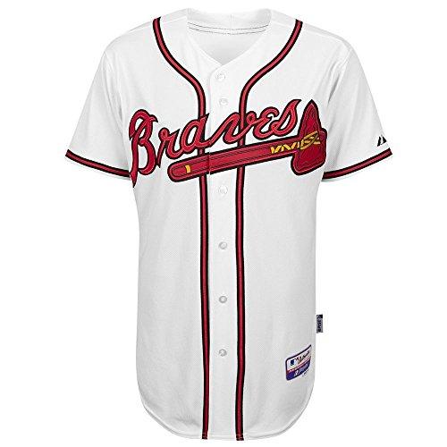 Majestic MLB Atlanta Braves Herren Trikot mit sechs Knöpfen, Herren, Wei, 52/XX-Large