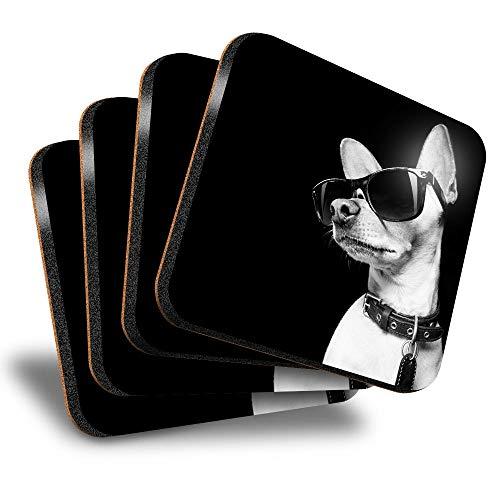 Destination Vinyl ltd Great Posavasos (juego de 4) cuadrados – BW – ny Dog con gafas de sol bebida brillante posavasos / protección de mesa para cualquier tipo de mesa #39763