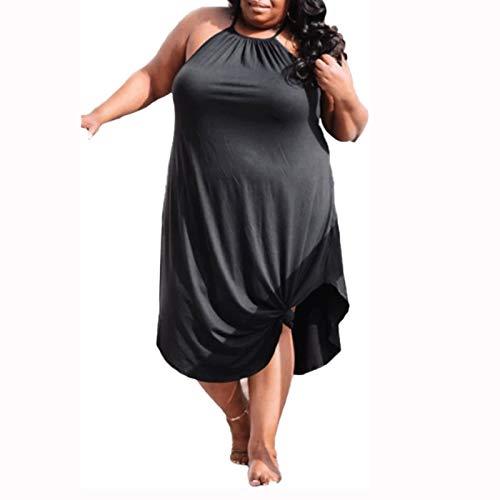 Letnie ubrania na co dzień Plus Size Kobiety Sukienka na lato, Neck Sukienka bez rękawów Bez Rękawów Suknia Plażowa (Color : Black, Size : X-Large size)