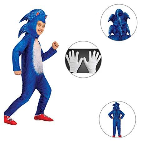 Sonic Disfraz Disfraz de Cosplay de Erizo para niños Halloween Tela de Personaje de Anime Película Fiesta de Cumpleaños Navidad Carnaval Regalo de Disfraces para Niños Chicos (M)