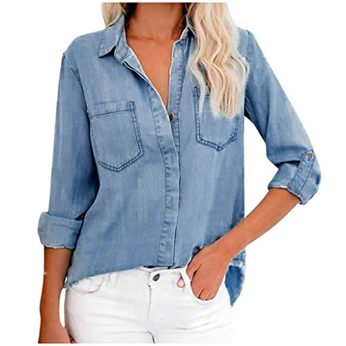 Review Womens Long Sleeve Button Thin Denim Shirt V Neck Pocket Casual Popular Blouse Tops