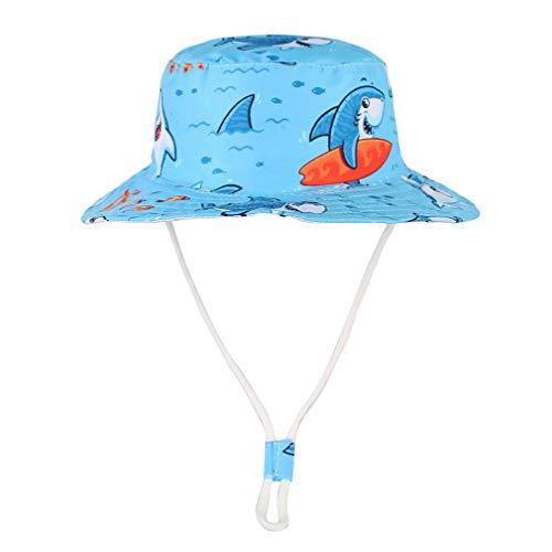 GEMVIE Gorra Bebe Niño Sol ala Ancha Verano Algódon Playa Unisexo Estampado Vida Marina Pescador Sombrero Aire Libre