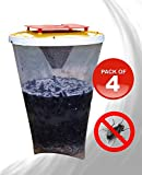 Redtop Flycatchers Standard Size - 100% Non-Toxic Disposable Outdoor Fly Trap - Designed to Attract Egg-Laying Females (Pack of 4)