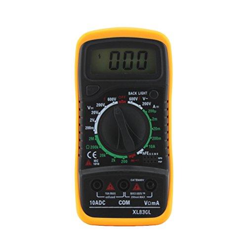 ueetek multímetro digital XL830L Auto Range multímetro medidor Comprobador para DC AC Voltaje Corriente Resistencia Tensión diodo frecuencia con LCD Pantalla Retroiluminación (Amarillo)