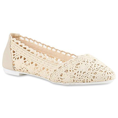 stiefelparadies Bequeme Damen Flats Klassische Ballerinas Spitze Ballerina Slipper Spitze-Häkeloptik Schuhe 116422 Creme 39 Flandell