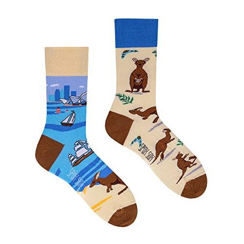 Spox Sox Casual Unisex - mehrfarbige, bunte Socken für Individualisten, Gr. 40-43, Kängurus