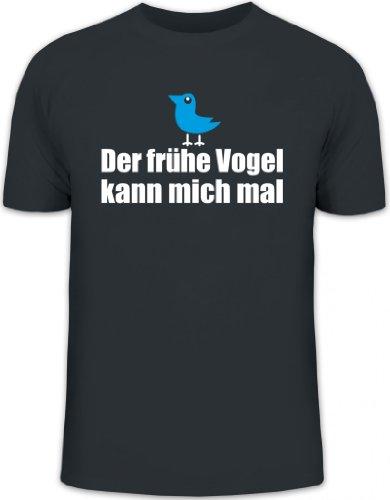 Shirtstreet24, Der frühe Vogel kann Mich mal, Herren T-Shirt Fun Shirt Funshirt, Größe: L,Darkgrey