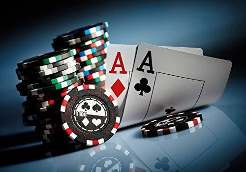 PICSonPAPER Hochwertiges Poster Poker, 100 cm breit x 70 cm hoch, Dekoration, Kunstdruck, Wandbild, Fineartprint, Kartenspiel, Ass, Chips, Geld, hohe Qualität