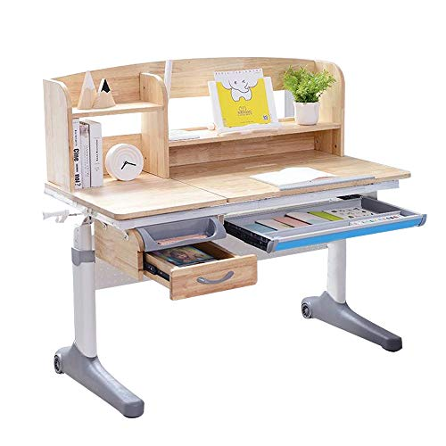 Rubber Wood Kids Study Desk Drafting Table Ergonomic Multi Function Real Wood Adjustable Child Table Computer Station with Book Shelf and Hutch