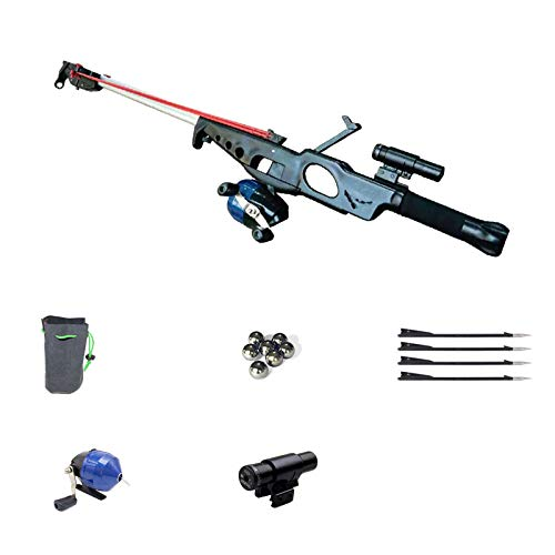 Smart Kingfisher Slingshot Fish Gun Speargun for Fishing, Hunting Spear Gun Multipurpose Shooting Support Arrow Ammo Equipted with Reel Sight Scope (Luxury kit)