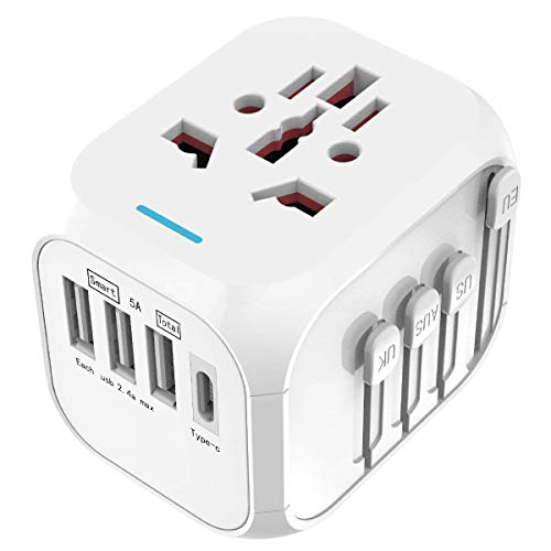 Limechoes International Travel Adapter Universal Power Adapter European Plug Converter Worldwide All in One with 2.4A 4 USB Ports and AC Socket US to Europe Plug Adapter for UK USA EU AUS Asia (Green)