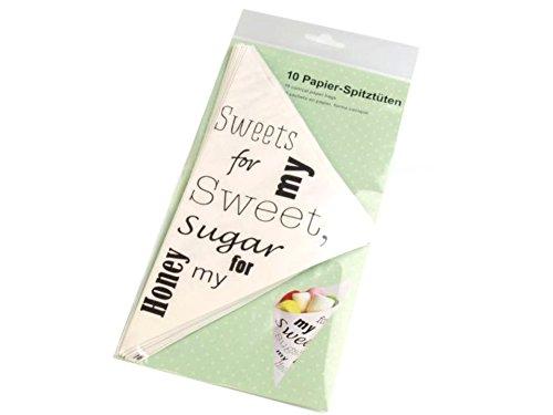5 x Papier-Spitztüten 19 cm weiss Tüte Hochzeitsmandeln Taufmandeln Süsigkeiten *NEU & OVP*