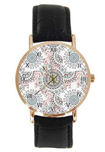 Grunge Montre-bracelet à quartz analogique unisexe avec motif mandala et fleurs et cercles en cuir