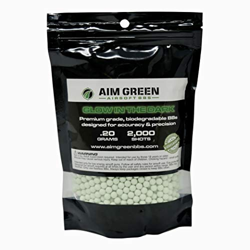 Aim Green: Glow in The Dark Biodegradable Airsoft BBS 6mm - 2,000 Airsoft BBS Pellets .20g Rounds - Spring, Gas, Co2 and AEG Pistols - Precision Rounds for Air Soft Sniper Rifles