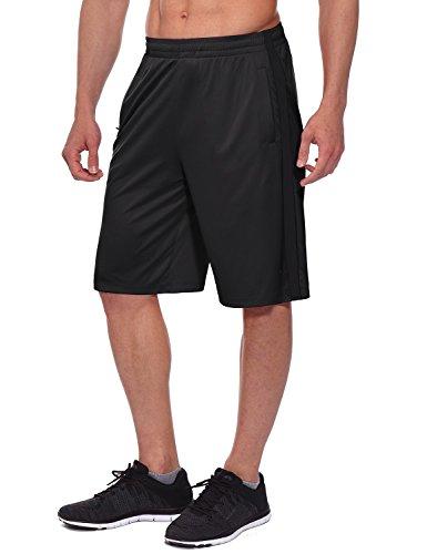 BALEAF Men's 11'' Athletic Basketball Jersey Shorts Training Sports Workout Shorts Drawstrings Zipper Pockets Black Size XXL