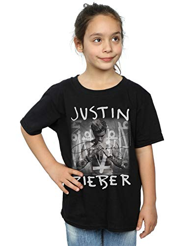 Justin Bieber Mädchen Purpose Album Cover T-Shirt 7-8 Years Schwarz