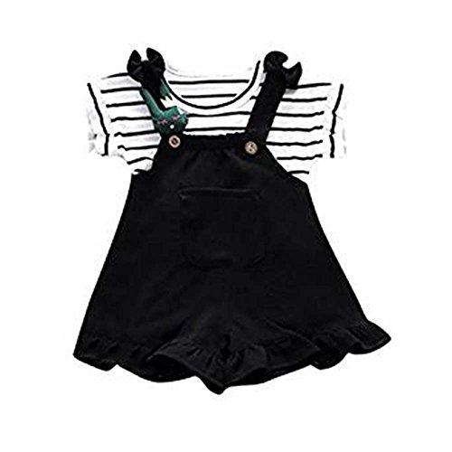 Chemise à Manches Courtes à Rayures d'été pour bébé Fille et Short Sling Set 2Pcs Chemise à Bretelles à Rayures pour bébé Fashion Set