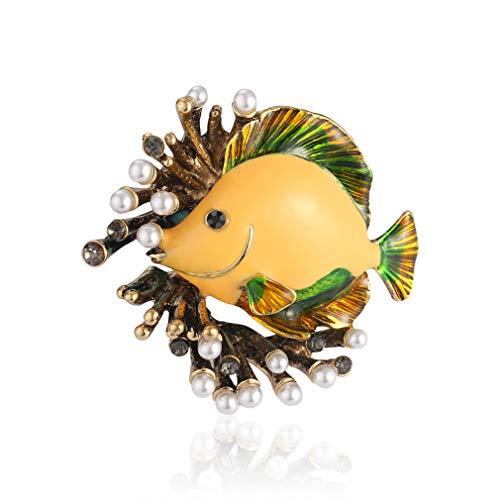 Yazilind Schöne Tierbrosche Fisch Anstecknadel Abzeichen Frauen Pullover Anzug Zubehör Anstecknadeln Geschenke Schmuck Gelb