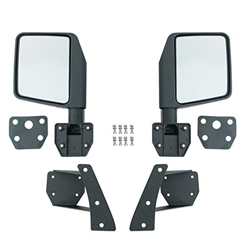 EAG Side View Mirrors with A Pillar Post Relocation Brackets Pair Kit Fit for 07-18 Wrangler JK