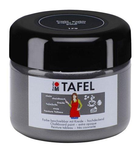 Marabu 02590025179 - Tafelfarbe graphit 225 ml, deckende Acrylfarbe auf Wasserbasis, nach Trocknung mit Tafelkreide beschreibbar und Wasser abwischbar, geeignet für Wand, Metall und Keilrahmen