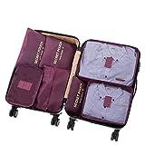 7 Set Sistema di Cubo di Viaggio - 3 Cubi di Imballaggio + 3 Sacchetti Borsa+ 1 Borsa portascarpe - Perfetto di Viaggio Dei Bagagli Organizzatore (Wine red)