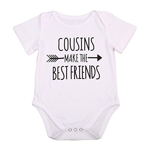 Consins Make The Best Friends Infant Baby Girl Boy Funny Bodysuits Tops Clothes (White, 3-6 Months)