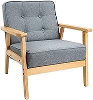KKTONER ソファ 1人掛け ソファー1人用 木製椅子 チェア 肘付き おしゃれ アームチェア ファブリック 介護 椅子 復古 現代 休憩 幅54cmx奥行44.7cmx高さ37cm グレー(灰色)