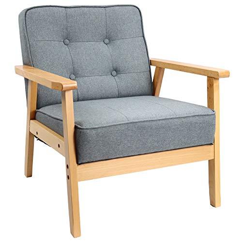 KKTONER Mid-Century Retro Modern Lounge Fabric Sofa Wooden Chair Living Room Bedroom Study Balcony Armchair (Grey)