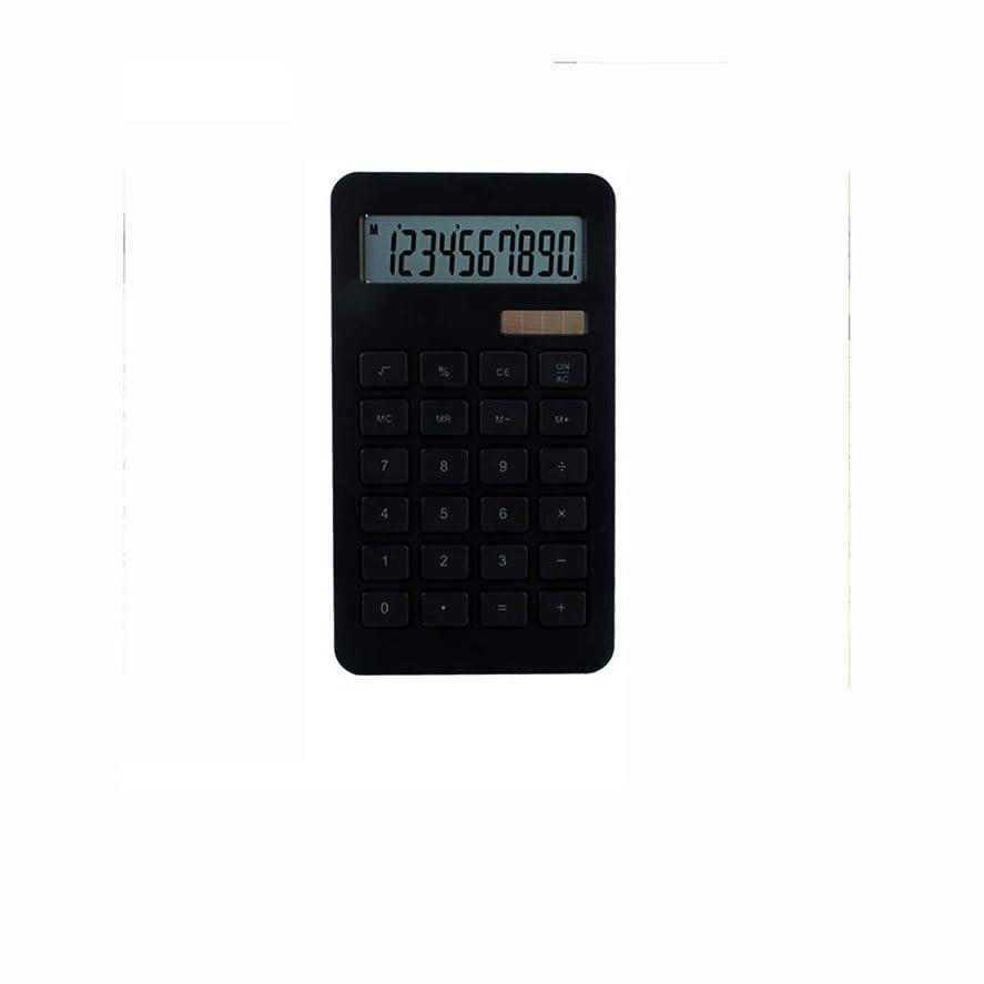 擬人化褐色肉オフィス電卓 ブラックソーラー電卓デュアル電源10桁デスクトップストレート電卓サイズ:170mmx96mmx10mm