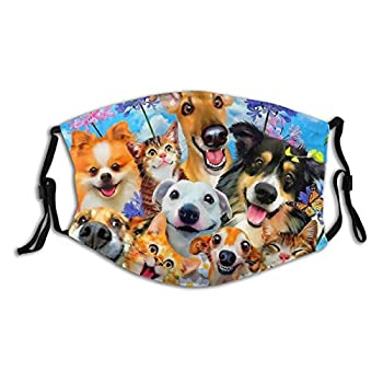 Kichlep Funny Cat And Dog Face Mask with 2 PCS Filters Reusable Cloth Mask with Filter and Pocket for Women Men Adjustable Earloop CAT 3