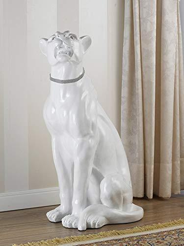 SIMONE GUARRACINO LUXURY DESIGN Statue Animal léopard féroce Assis en résine Blanc laqué