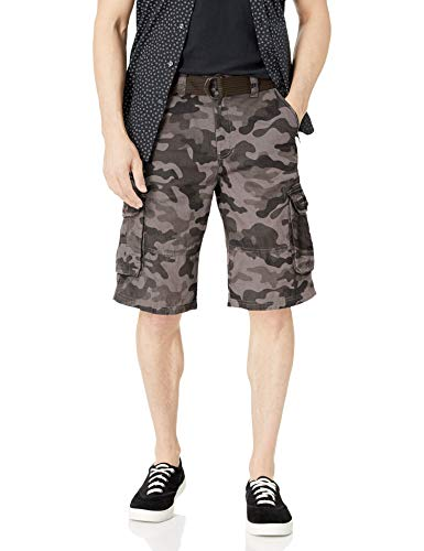 Southpole Men's All-Season Belted Ripstop Basic Cargo Short, Grey Black/New, 38