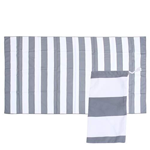 TOPBATHY 2 toallas de playa a rayas, toalla de ducha absorbente de microfibra suave, alfombra de picnic, esterilla de yoga, multifuncional para mujeres, niñas, hombres (gris oscuro)