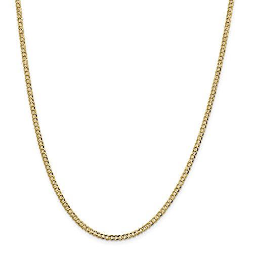 Diamond2deal 14K giallo oro 3.1mm solido luce piatto Cubano catena collana 45,7cm