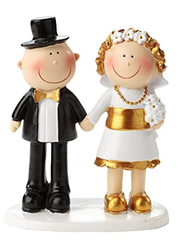 Statuetta per torte, per 50° anniversario di matrimonio, nozze d'oro, adatta anche come centrotavola