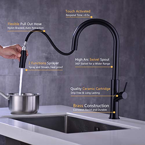 Touch-On Kitchen Faucet with Pull Down Sprayer Single Handle Brass Touch Activated Kitchen Sink Faucet with 2-Way Pull Out Sprayer, Lead-Free Water Supply, KPF-1322B-T, Matte Black