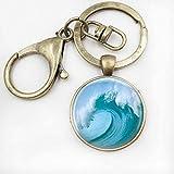 MENGYANG Llavero, Joyería De Playa Tsunami Ocean Surfer Arte Náutico Llavero Tidal Wave Print Glass Keychain