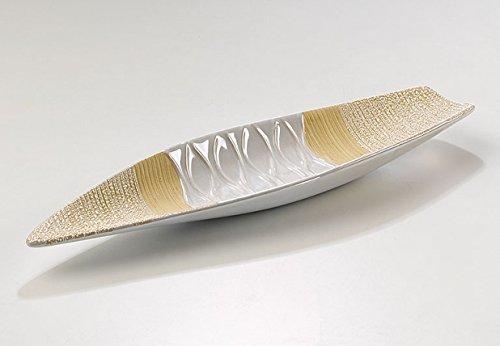 Decoratieve schaal van keramiek in wit/beige 41cm