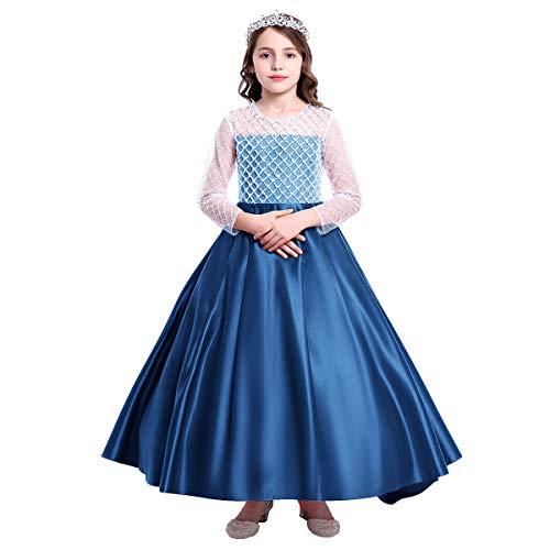Vestido Largo para niña con diseño de Flores y Mangas largas, Vestido Largo de Tul para Fiesta de Primera comunión, Fiesta de graduación, Fiesta de graduación