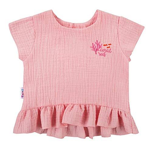 Eevi mosselin blouse koraal handvat roze katoen mousseline voor kinderen van 6 maanden tot 4 jaar maat 68