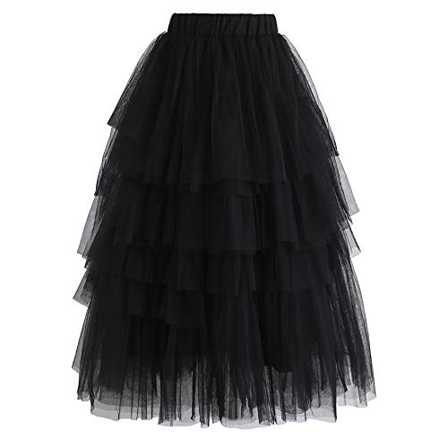 Chicwish Women's Black Tiered Layered Mesh Ballet Prom Party Tulle Tutu A-line Midi Skirt