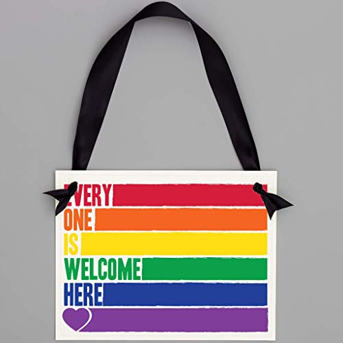 Everyone Is Welcome Here Sign - Rainbow Gay and Lesbian Inclusive Pride Banner for Work, School, Office, Dorm, Boutique, Classroom, Business, Library or Home Decor | LGBTQ+ Ally