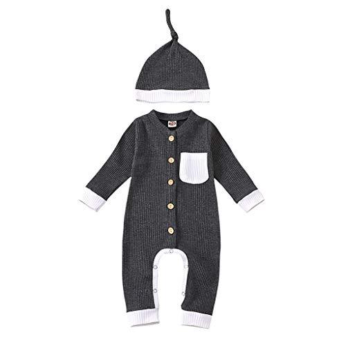 JoJody Bodys - Pijama de punto con gorro para nacimiento y niña, manga larga gris 18-24 Meses