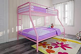 DHP Twin-Over-Full Bunk Bed with Metal Frame and Ladder, Space-Saving Design, Pink (B077JJ6Q3G) | Amazon price tracker / tracking, Amazon price history charts, Amazon price watches, Amazon price drop alerts