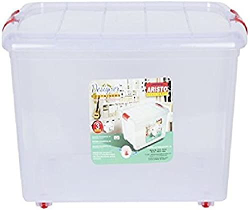 ARISTO Multipurpose Plastic Storage Container Box with Wheels 25 LTR Clear Transparent