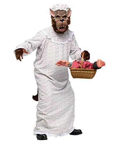 Horror-Shop Böser Wolf im Oma Nachthemd Märchenkostüm für Fasching, Halloween & Karneval