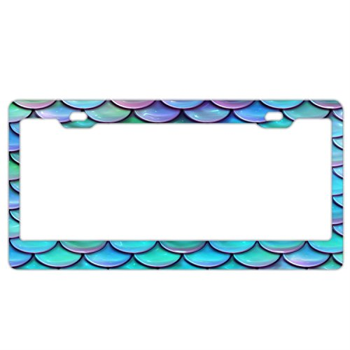 FunnyLpopoiamef Teal Purple Mermaid Scales License Plate Frame for Women/Girl,Car Licenses Plate Covers Waterproof License Tag Stainless Steel Metal Frame